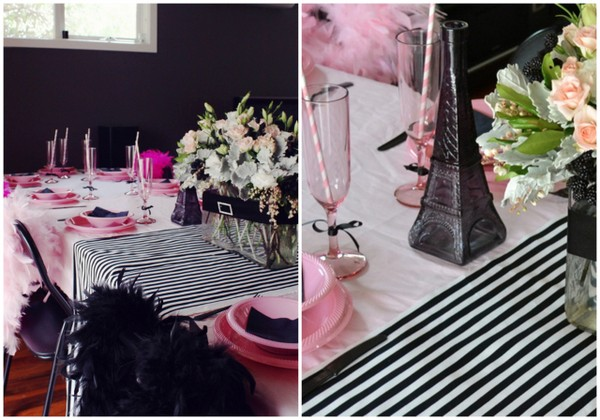 The eating table pink and black paris, french themed