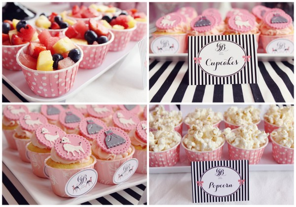 Poss' party cupcakes, fruit cups and popcorn