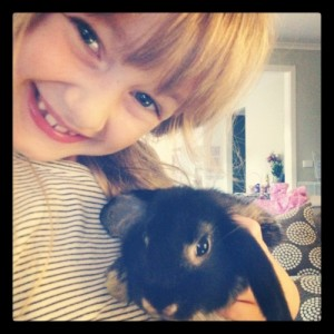 Poss with Max the bunny - so cute