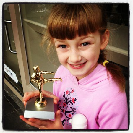 Poss with her taekwondo trophy