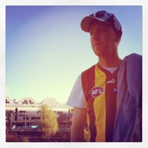 Husband before the Hawthorn vs Crows game