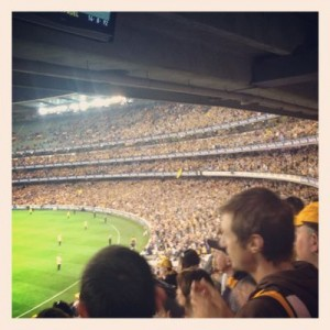 Happy team at Hawthorn... Hawthorn vs Crows game