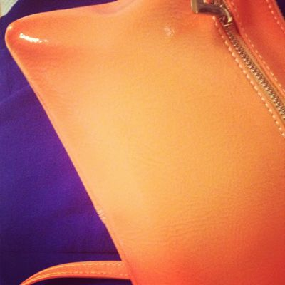 Funky and Chunky - orange clutch from Coco and Chloe and blazer from Sussan